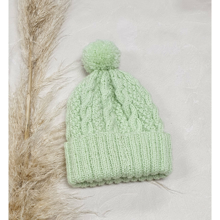 Baby Cable Knit Beanie - Baby Lime Green