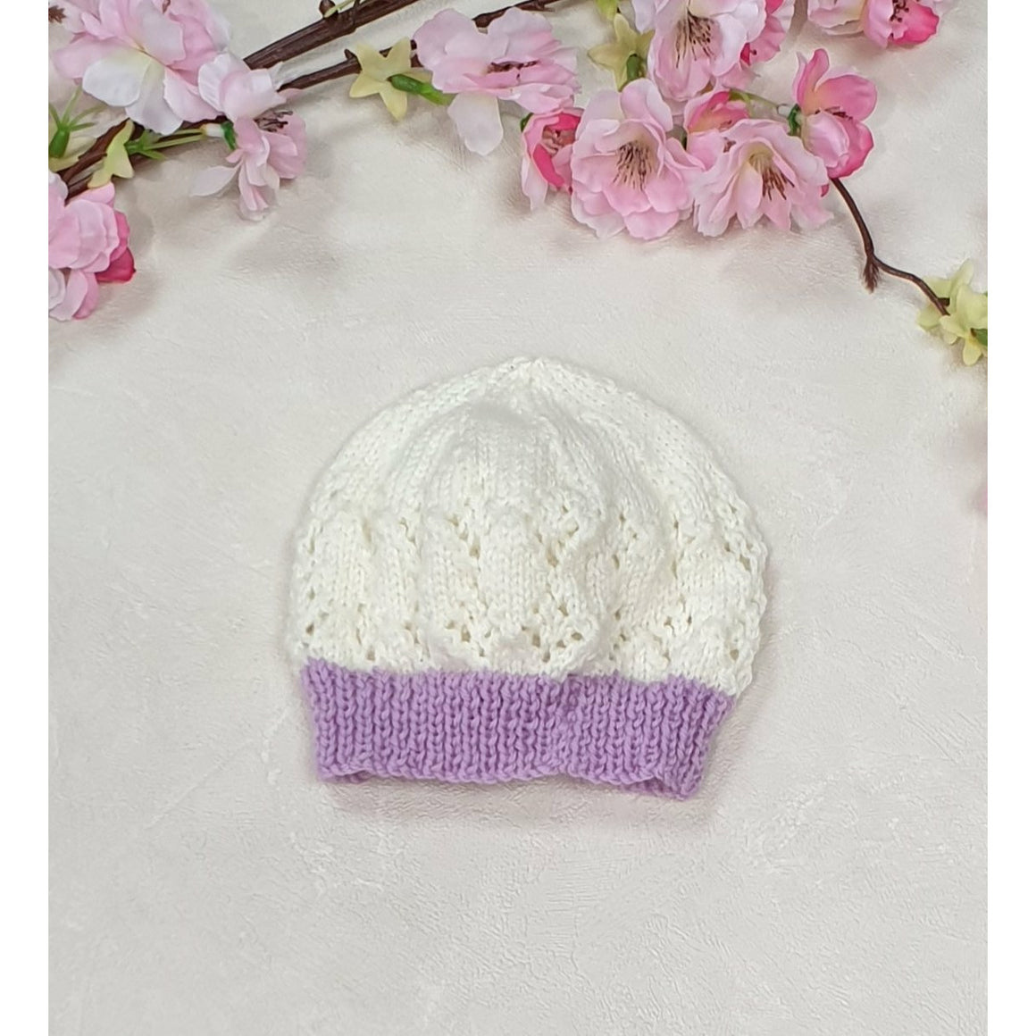 Little Lace Knitted Beanie - White w/ Purple Trim