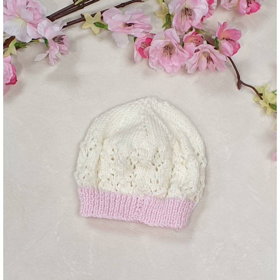 Little Lace Knitted Beanie - White w/ Pink Trim
