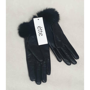 Leather Gloves - Rabbit Fur Trim -Black Size Medium