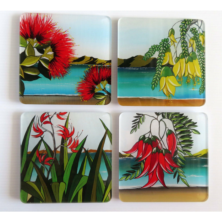 Coaster Set - New Zealand Art Designs Flowers