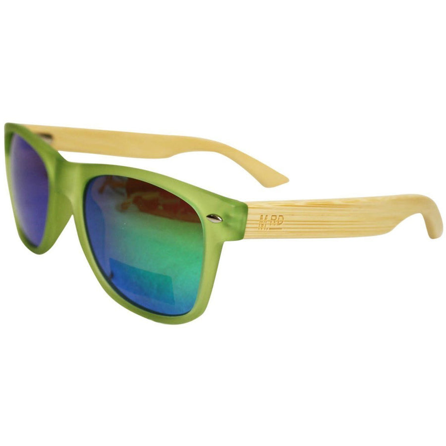 WOODEN SUNNIES - TRANSPARENT GREEN w/ PLAIN ARMS REFLECTIVE ARMS
