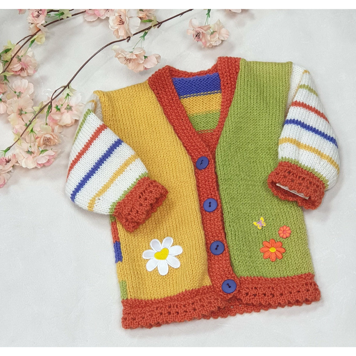 KNITWEAR - Yellow & Green with Orange Trim V Neck Cardi 15 mths