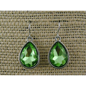 APPLE GREENWATER DROP GLASS RHODIUM EARRINGS