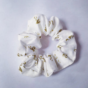 Scrunchie - White w/ Gold Flamingo