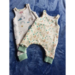 Reversible Overalls - Rainbows / Rabbits and Green Leaves