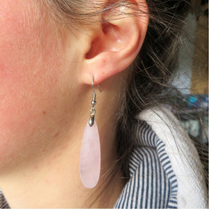 Rose Quartz Long Earrings