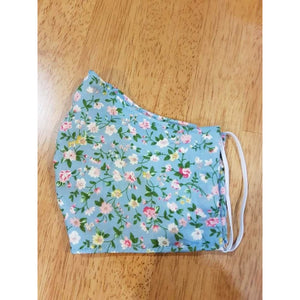 Face Masks - Woven Cotton - Light Blue Floral