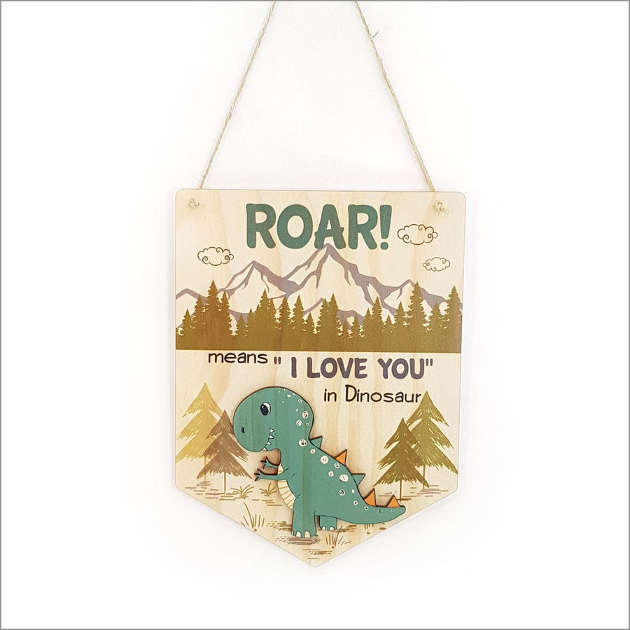 Pine Flag Wall Art - Dinosaur Roar