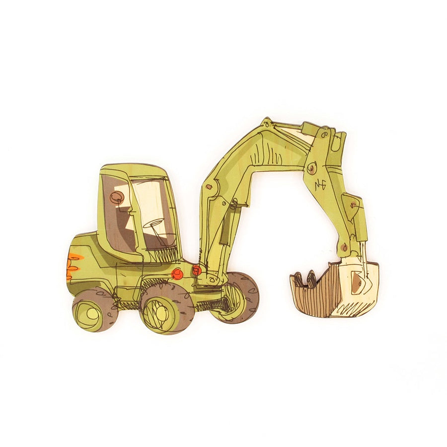 Excavator - Kids Pine Wall Art