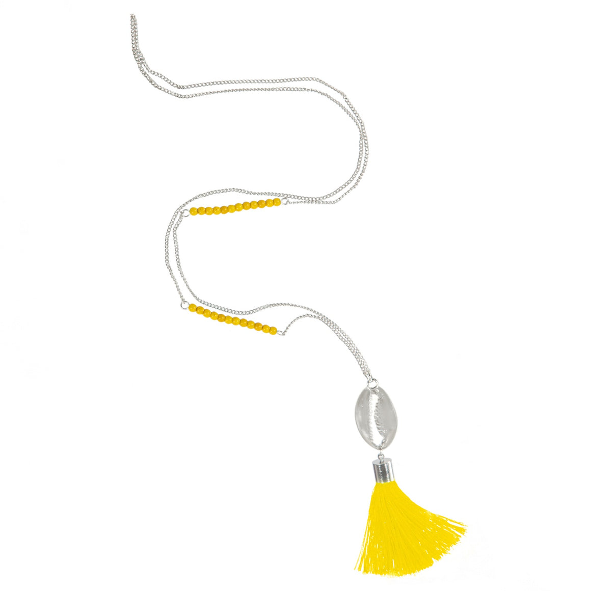 METAL COWRY & TASSEL PENDANT FINE CHAIN LONG NECKLACE YELLOW