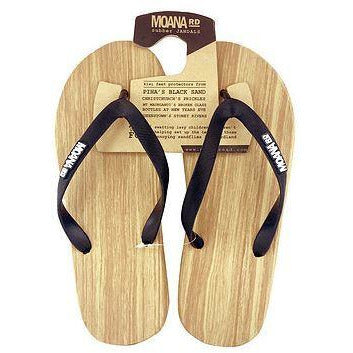 Wooden Look Rubber Jandal - Black