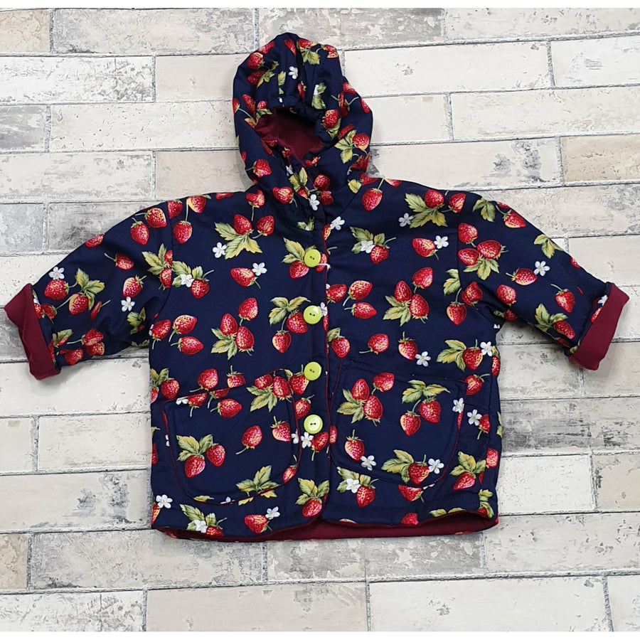 Madison Jacket - Navy w/ Strawberries 2-4yrs
