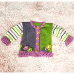 KNITWEAR - Purple Pink Green w/ Candy Stripes Cardi 3-5 mths