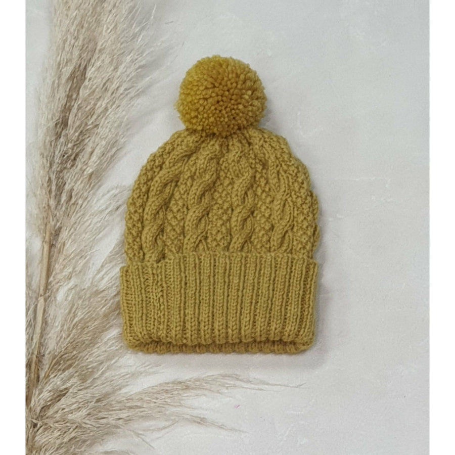 Baby Cable Knit Beanie - Mustard
