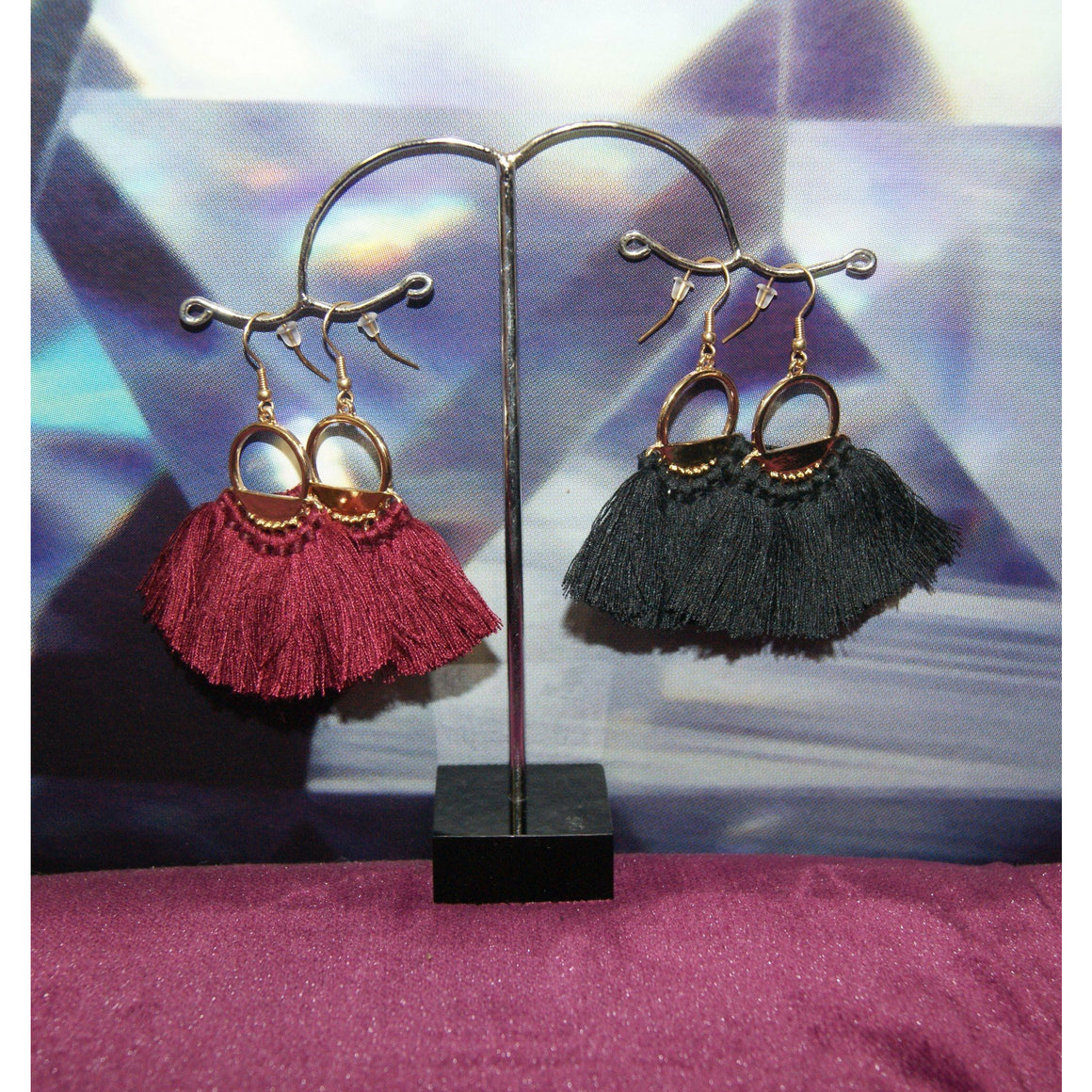 Tasman Earrings Black Tassle