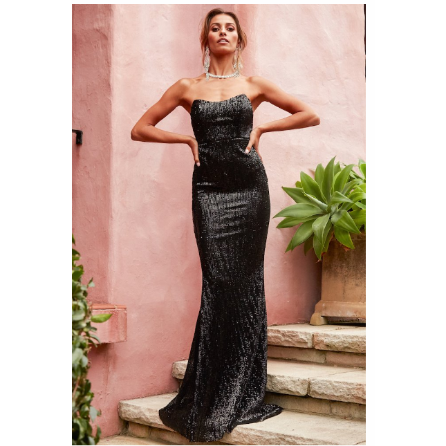 Here she comes Formal Dress - Black Sequin