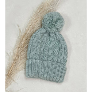 Baby Cable Knit Beanie - Sage