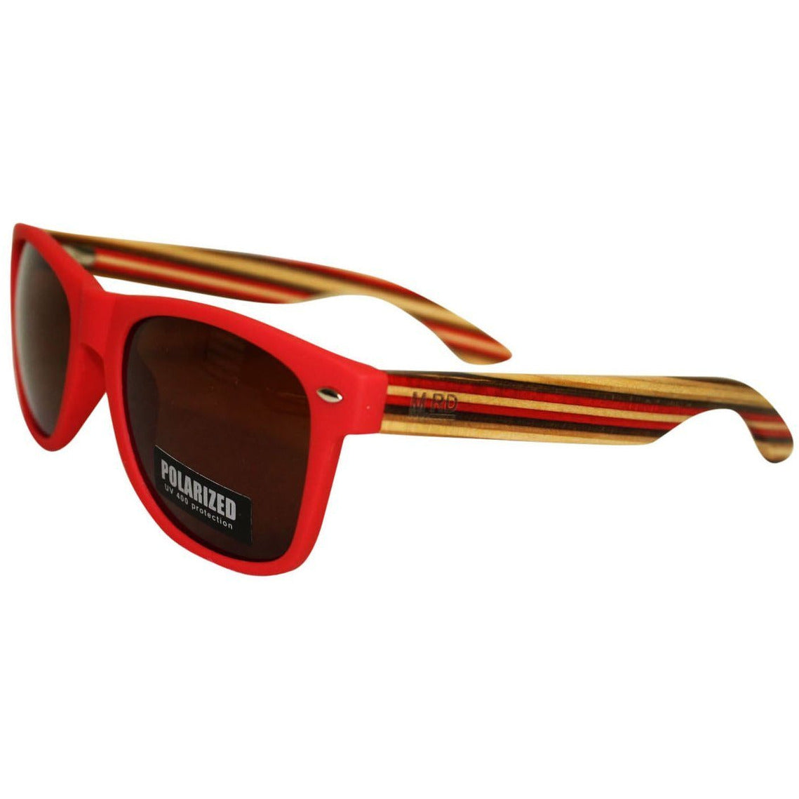 WOODEN SUNNIES MATTE RED w STRIPED ARMS BROWN LENS