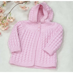 KNITWEAR - Pink Textured Knit Jacket Hooded 6-10 Mths