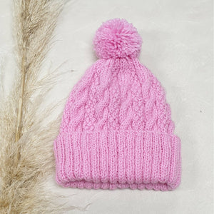 Baby Cable Knit Beanie - Hot Pink