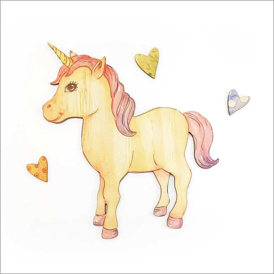 Unicorn Standing - Kids Pine Wall Art