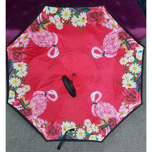 Inside Out Umbrella - Red Flamingo