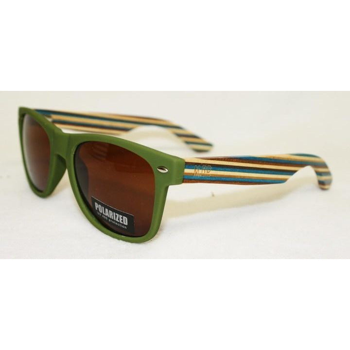 Wooden Sunnies - Matte Green w/ Striped Arms