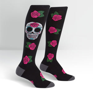 FEMALE KNEE SOCKS - SUGAR SKULL
