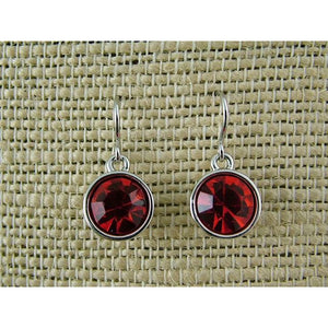 RED ROUND RHINESTONE RHODIUM EARRINGS