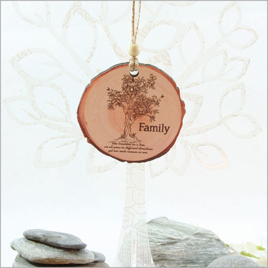 Wood Slice Ornament : Family Tree