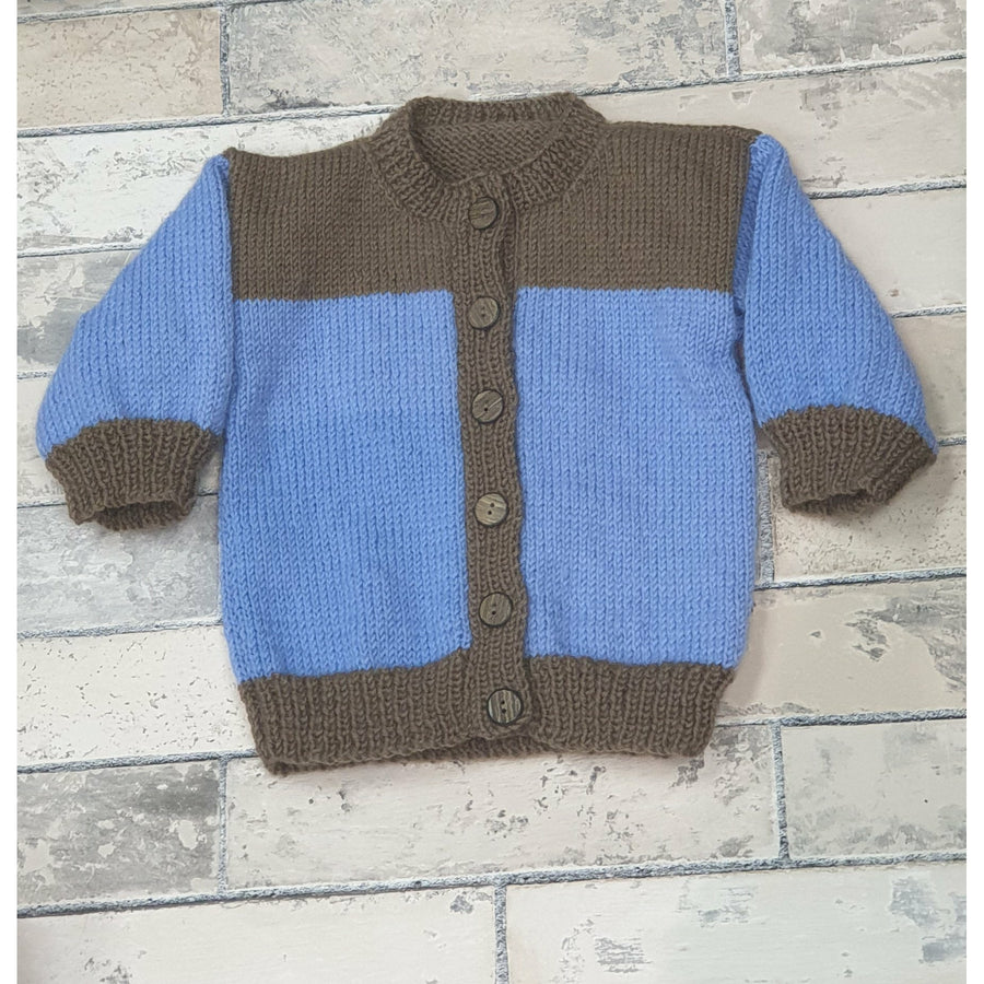KNITWEAR - Blue Body Brown Trim Cardi 12 mnths