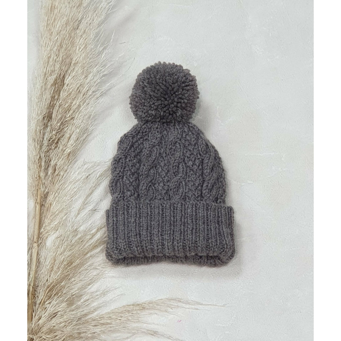 Baby Cable Knit Beanie - Mocha