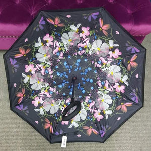 Inside Out Umbrella - Black Floral