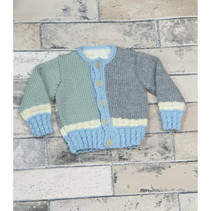KNITWEAR - Multi Colour Blue, Green Grey Cable Rib Cardi 2-5 Months