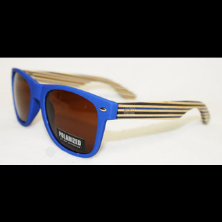 Wooden Sunnies - Matte Blue w/ Striped Arms & Brown Lens
