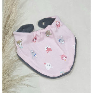 Baby Dribble Bibs - Pink w/ Animal Faces