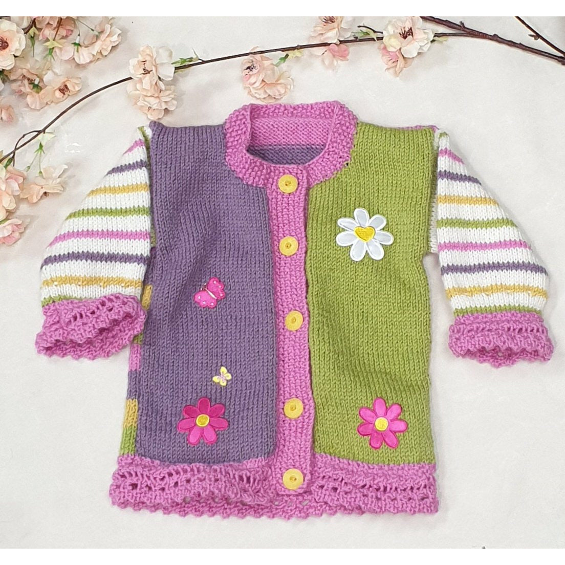 KNITWEAR - Purple Pink Green w/ Candy Stripes Cardi - 12-18 mths