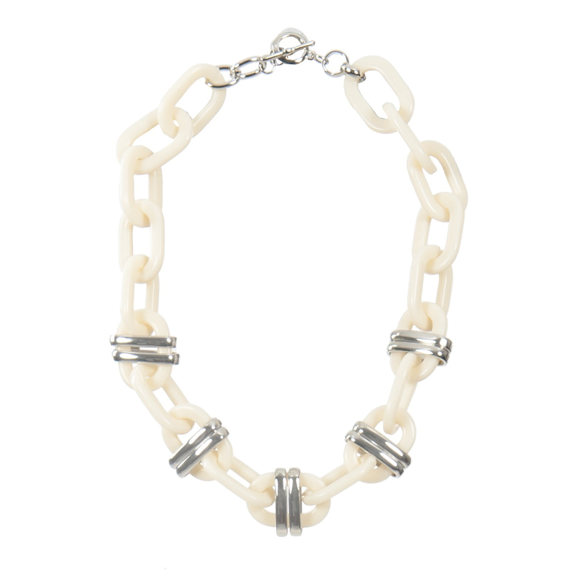 RESIN OVAL & METAL LINKS NECKLACE SILV WHITE