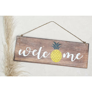 "Pineapple Wooden Sign - "" Welcome"""