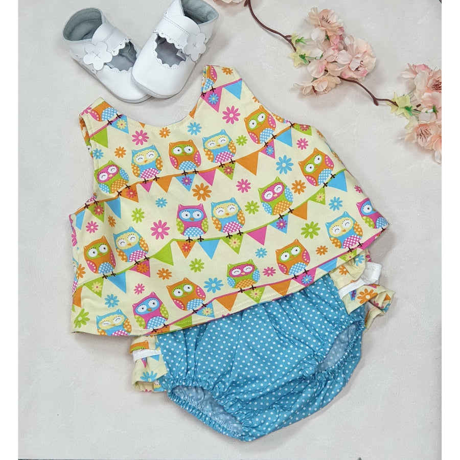 Dotti Owl Swing Top w/ Aqua Bloomers