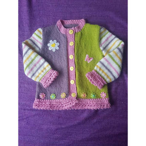 KNITWEAR - Purple Pink Green w/ Candy Stripes Cardi 2-3 years