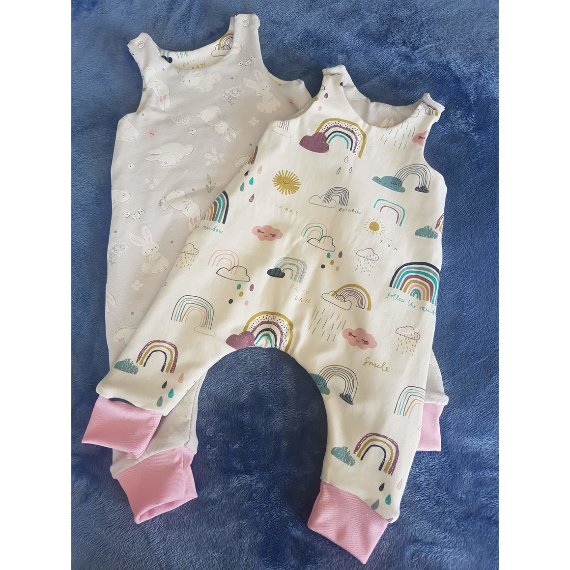Reversible Overalls - Rainbows / White Bunnies