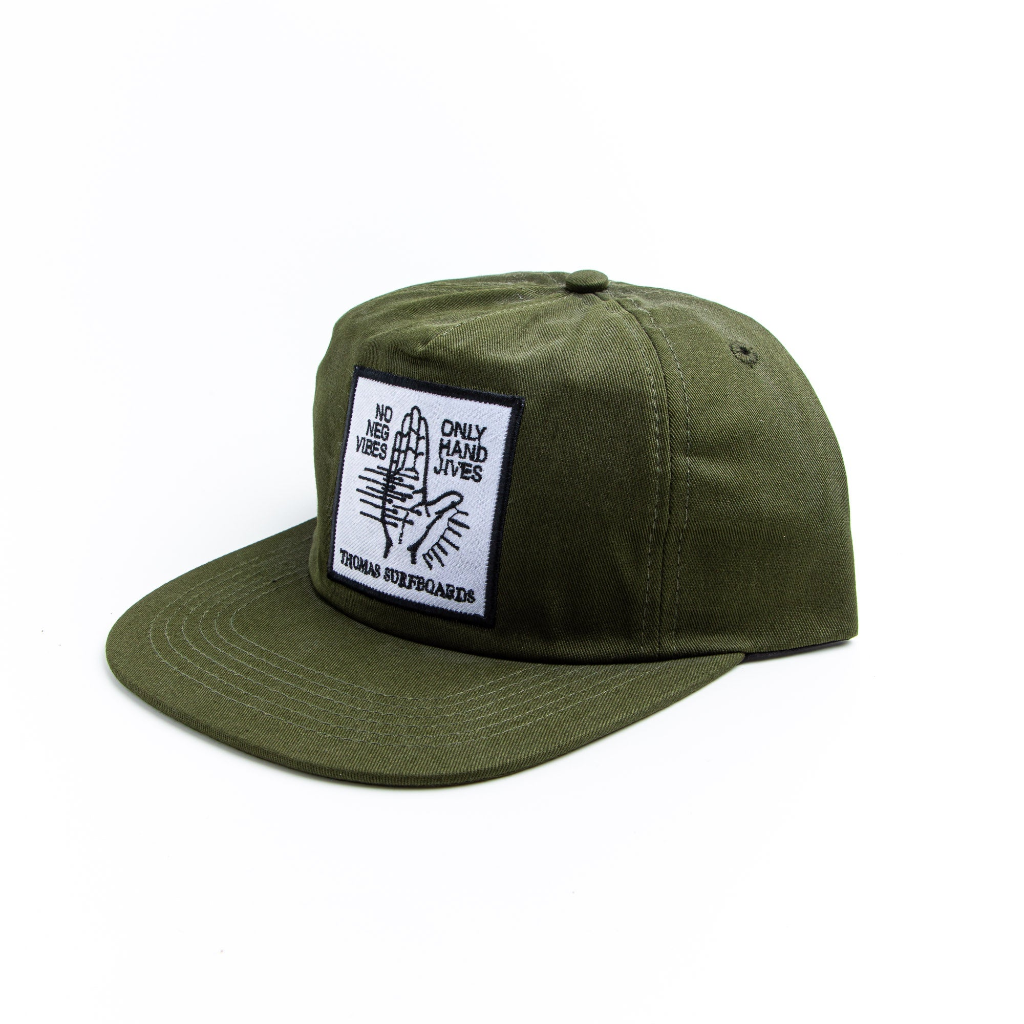 Thomas No Neg Vibes Hat Army Green