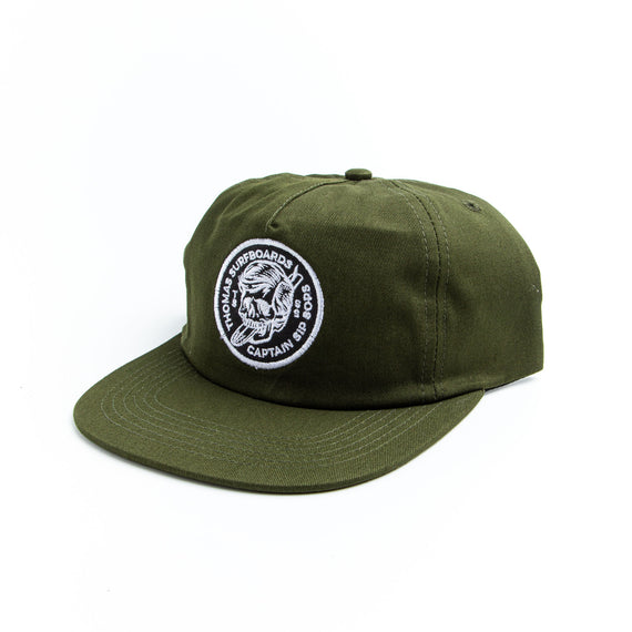 Thomas Surfboards & Captain Sip Sops Colab Stay Bold Hat Army Green