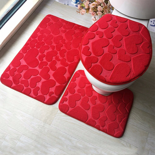 3 Piece Anti-Slip Bathroom Mat Set