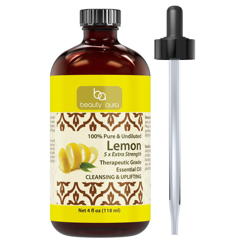 Image of Beauty Aura Lemon 5 x Extra Strength Essential Oil 4 Fl Oz 118 Ml
