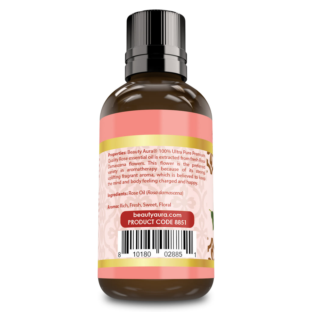Beauty Aura Premium Collection - 100 Percent Ultra Pure Rose Oil - 1 Fluid Ounce - Promotes a Positive Mood - Energizes The Body