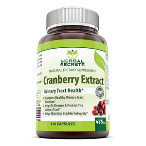 Herbal Secrets Cranberry Fruit 475 Mg 120 Capsules - Amazing Nutrition