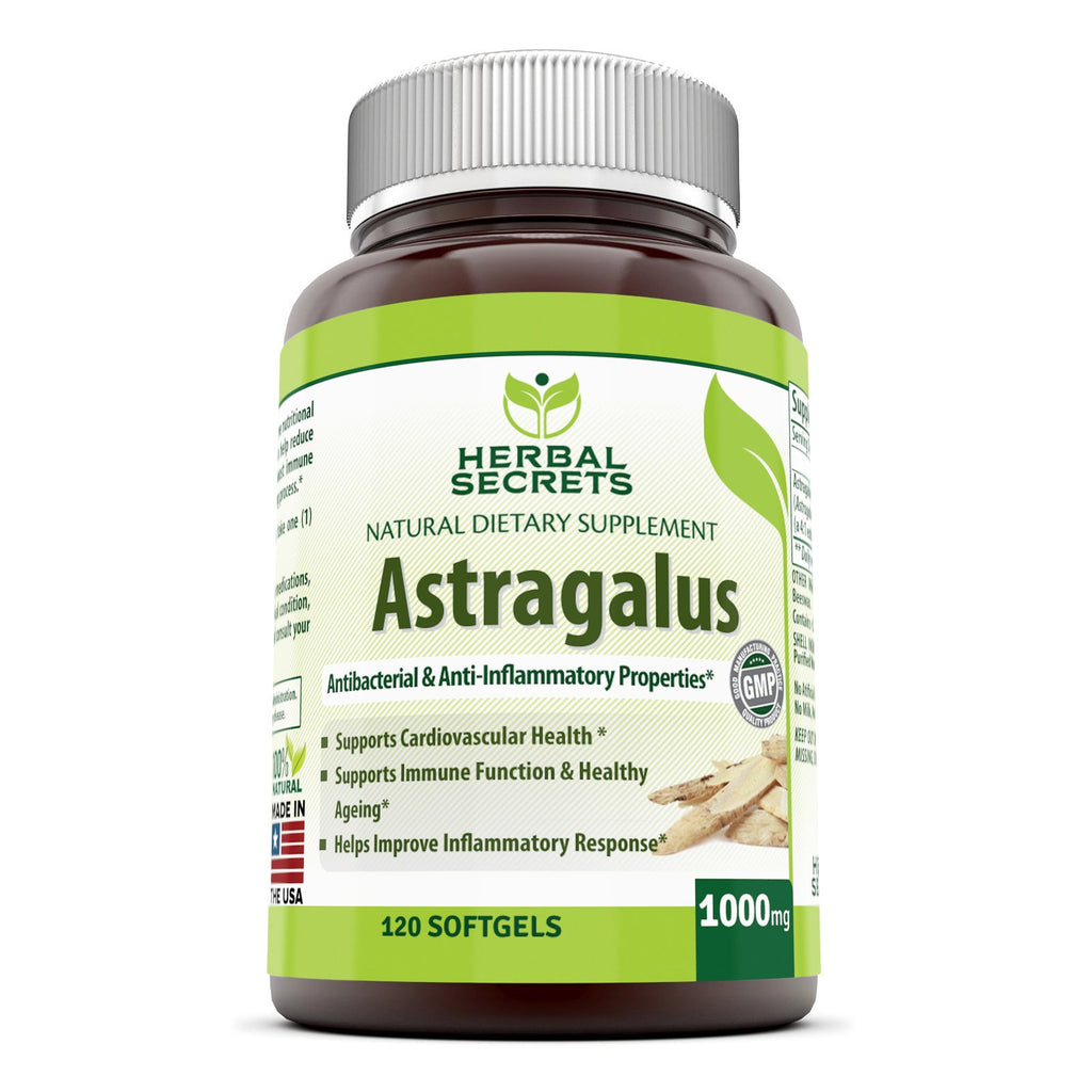 Herbal Secret Astragalus - 1000 Mg, 120 Softgels - Amazing Nutrition